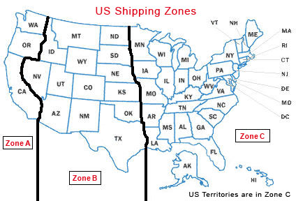 Adyashantiorg - Us shipping zones map